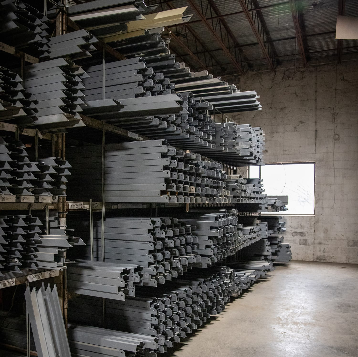 steel stacked in warehouse